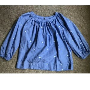 J Crew XS Perfect Top Chambray Blue w/Flowers
